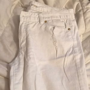 White Michael Kors cropped distressed skinny jean